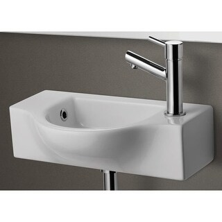"""ALFI brand AB105 10"""" Porcelain Wall Mount Bathroom Sink with Single Hole Drilled - White"""