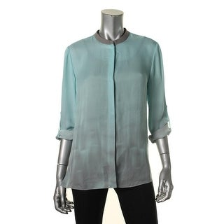 Elie Tahari Womens Dylan Button-Down Top Silk Ombre