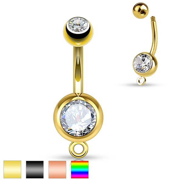 Double Jeweled with O-Ring for Add on Dangles Surgical Steel Belly Button Ring - 14GA (Sold Ind.)