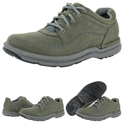 Rockport Men's World Tour Classic Leather EVA Flexible Walking Fashion Sneaker - Grey Nubuck