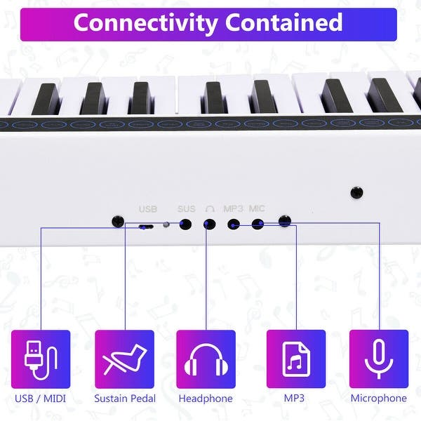 61 Key Black Portable Electric Digital Stage Piano with Carrying Bag MP3 MIDI