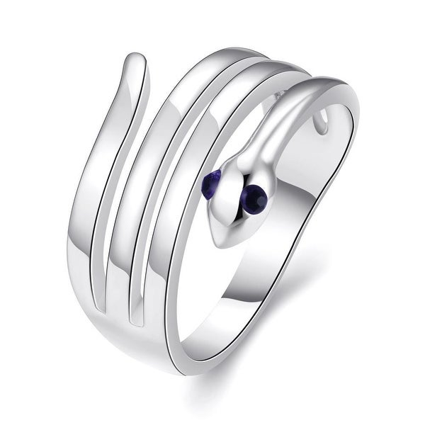White Gold Plated Wrap-around Snake Ring