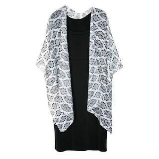CTM® Women's Lightweight Damask Diamond Print Open Style Kimono Shawl - damask diamond print - One Size