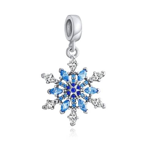 Winter Snowflake Blue CZ Dangle Bead Charm 925 Sterling Silver