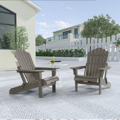 Haven Folding Poly Resin Plastic Adirondack Chair, Set of 2