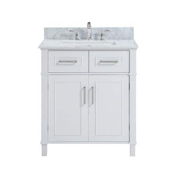 30 Inch Freestanding White Bathroom Vanity With Carrara Marble Top Overstock 31932103