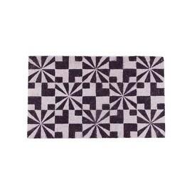 "Decorative Black and White Abstract Coir Outdoor Rectangular Door Mat 29.5"" x 17.75"""