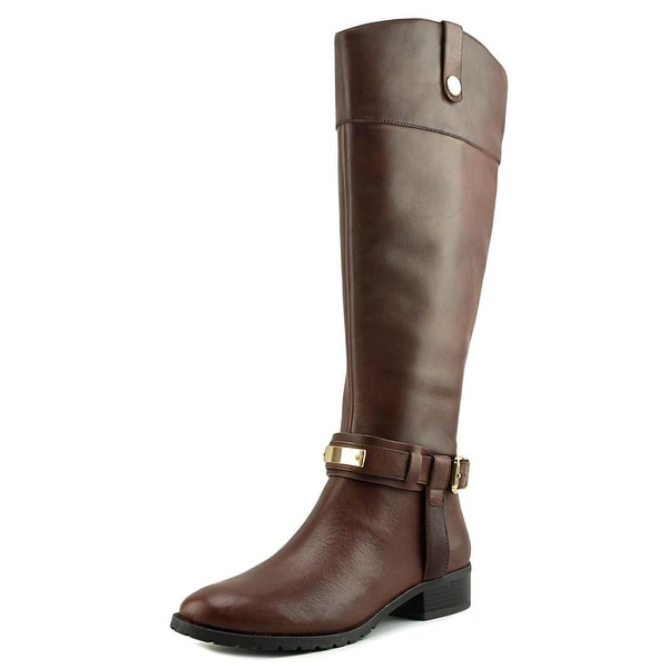 INC International Concepts Fabbaa Wide Calf Women Leather Brown Knee High Boot