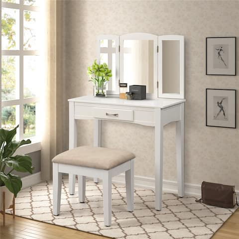 White Wooden Dressing Vanity Make Up Table and Stool Set