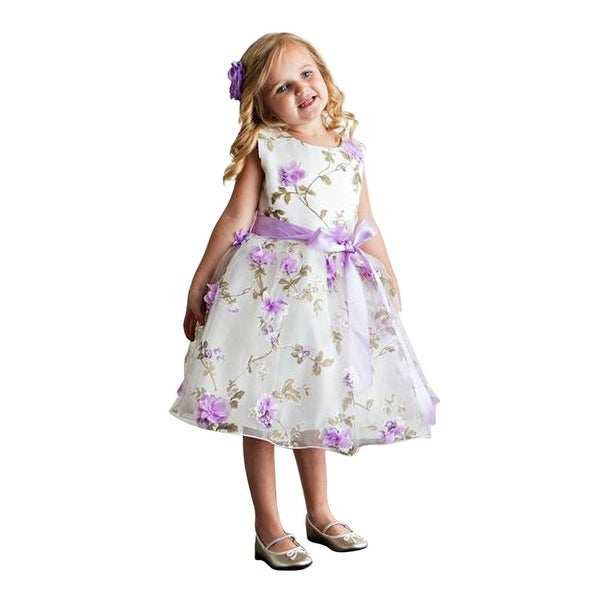 bd255011c382 Shop Think Gold Bows Little Girls Lavender Spring Garden Flower Girl Dress  6 - Free Shipping On Orders Over $45 - Overstock - 18164858