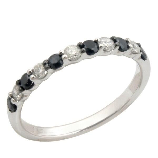 Prism Jewel 0.50Ct Round 2.20MM Black & White Diamond Wedding Band