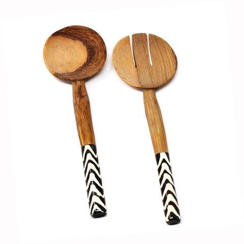 Handmade Olive Wood Serving Utensils with Natural Batik Bone Handles (Kenya)