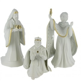 Nativity Set King of Kings Wisemen Gold Trimmed Porcelain Figurines