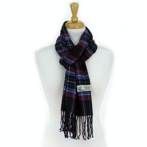 Plaid Cashmere Feel Classic Soft Luxurious Scarf For Men And Women - Black