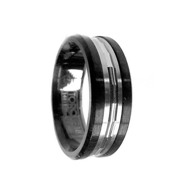 Grooved 14k White Gold Inlaid Black Cobalt Men's Wedding Ring by Crown Ring - 7.5mm