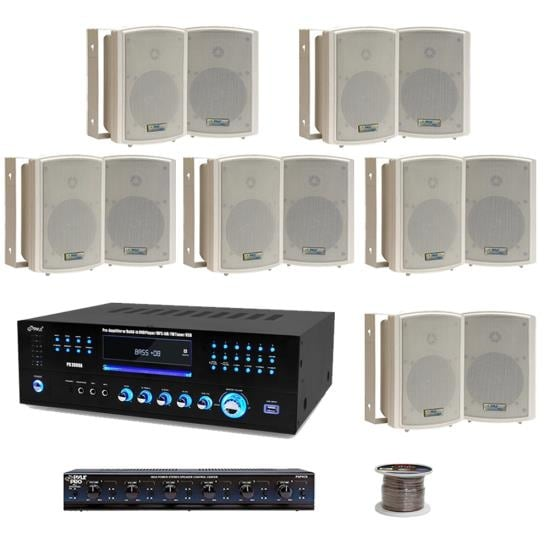 6 Room 5.25'' Waterproof Wall Mount Speaker System w/6 Volume Controls Knob & Selector