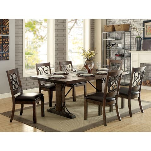 Furniture of America Ted Rustic Espresso 7-piece Dining Table Set