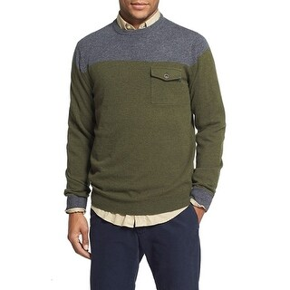 Gant NEW Green Gray Mens Size XL Crewneck Wool Colorblock Sweater