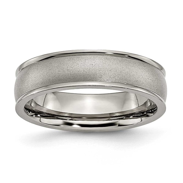 Chisel Ridged Edge Brushed and Polished Titanium Ring (6.0 mm)