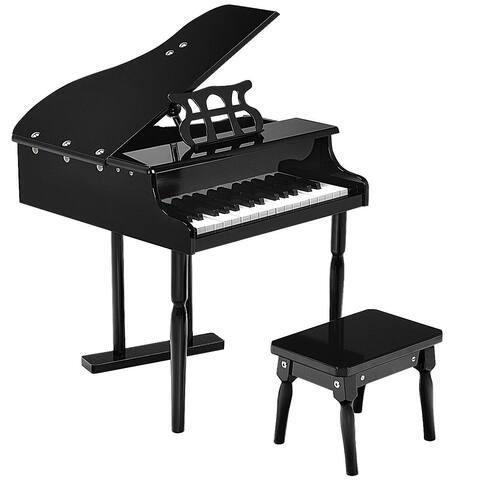 Childs 30 key Toy Grand Baby Piano w/ Kids Bench Wood Black New