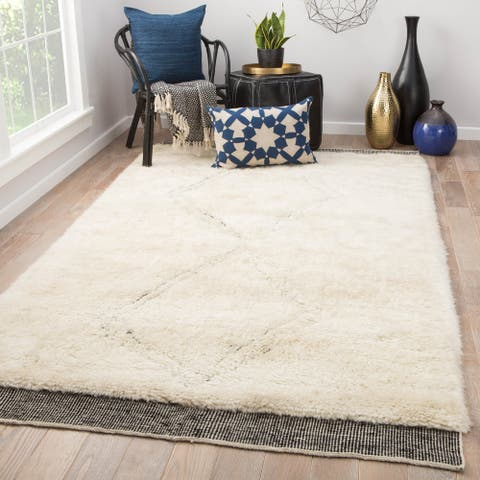 Duo Hand-Knotted Geometric Ivory/ Black Area Rug