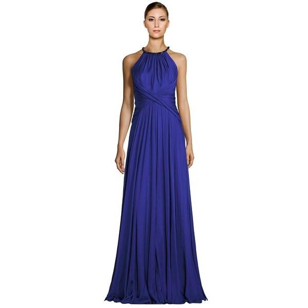 Carmen Marc Valvo Embellished Halter Silk Chiffon Evening Gown ...