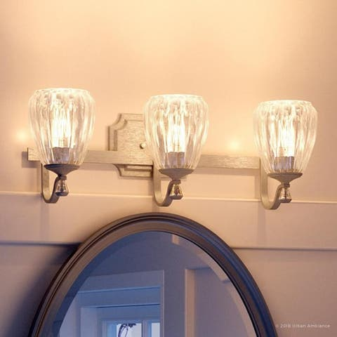 """Luxury Crystal Bathroom Vanity Light, 7.5""""H x 23""""W, with French Country Style, Antique Silver Finish by Urban Ambiance"""