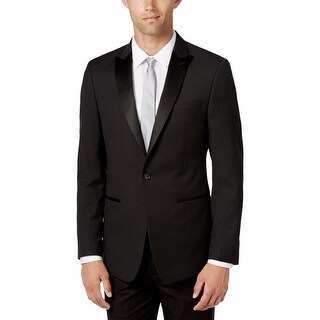 Calvin Klein Mens One-Button Blazer Houndstooth Double Vent