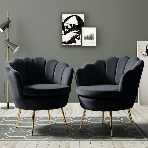 Gaitana Upholstered Barrel Chair with Tufted Back,Set of 2