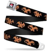 Pok Ball Full Color Black Charizard 3 Silhouette Poses Black Orange Seatbelt Belt