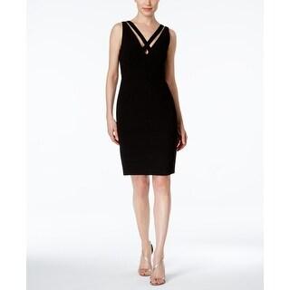 Calvin Klein Womens Double Criss-Cross Sheath Dress