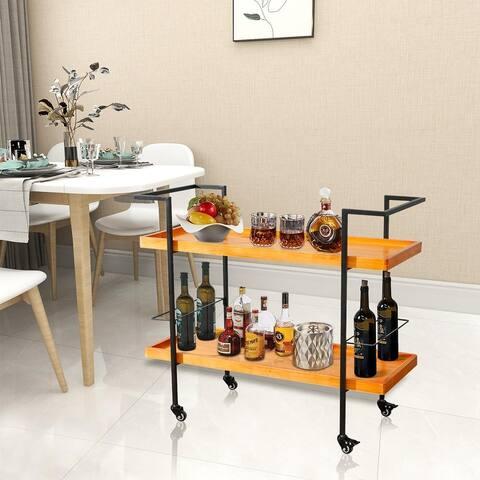 Industrial Wooden Bar Cart
