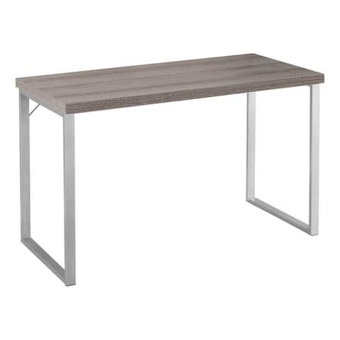 "Offex 48"" L Rectangular Computer Desk w/ Silver Metal Legs, Dark Taupe"