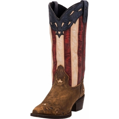 "Laredo Western Boots Womens 11"" Crackle Snip Toe Cowboy Patriot"