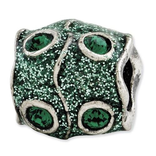 Italian Sterling Silver Reflections Green Swarovski Elements & Enamel Bead