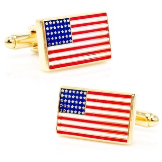 Goldtone Enamel Accented American Flag Cufflinks