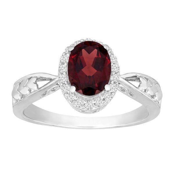 1 1/2 ct Natural Garnet & Natural White Topaz Ring in 10K White Gold - Red