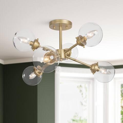"""Mid-Century Modern Gold 6-light Sputnik Semi-flush Mount Glass Ceiling Light for Kitchen Dining Room - D25""""x H13"""""""