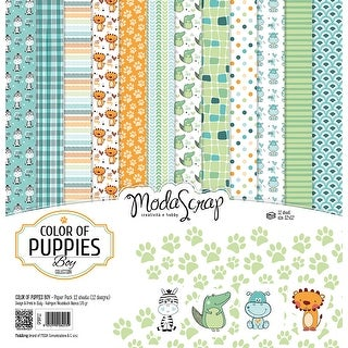 "Color Of Puppies Boy - Elizabeth Craft ModaScrap Paper Pack 12""X12"" 12/Pkg"