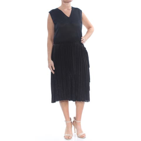 SONIA RYKIEL Black Sleeveless Tea Length Dress 14