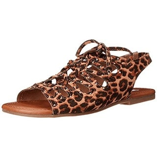 Steve Madden Girls Jgilley Fisherman Sandals Animal Print Faux Suede