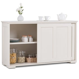 Costway Kitchen Storage Cabinet Sideboard Buffet Cupboard Wood Sliding Door Pantry White