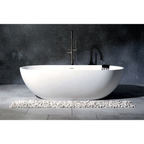 Modern 70-inch Solid Surface White Stone Freestanding Oval Bathtub