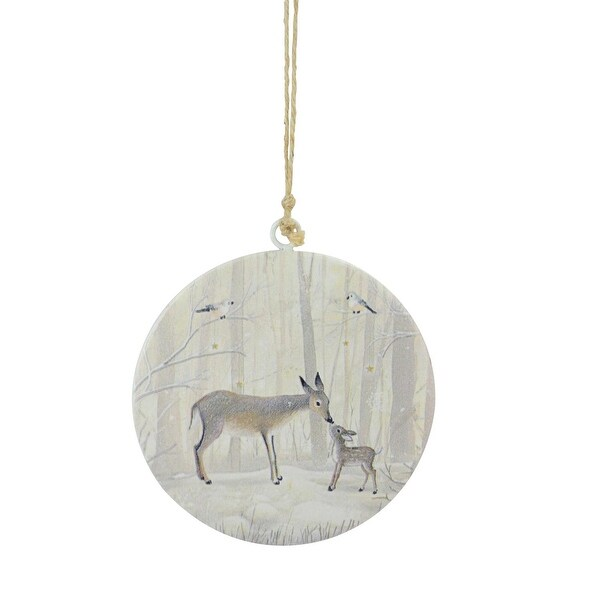 "6"" Winter Light Reindeer Doe and Fawn Christmas Disc Ornament - brown"