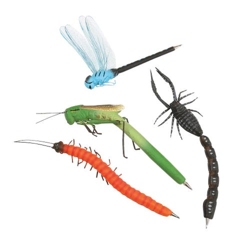 Bug Writing Pens Set -Scorpion, Millipede, Grasshopper, Dragonfly with - Multicolor