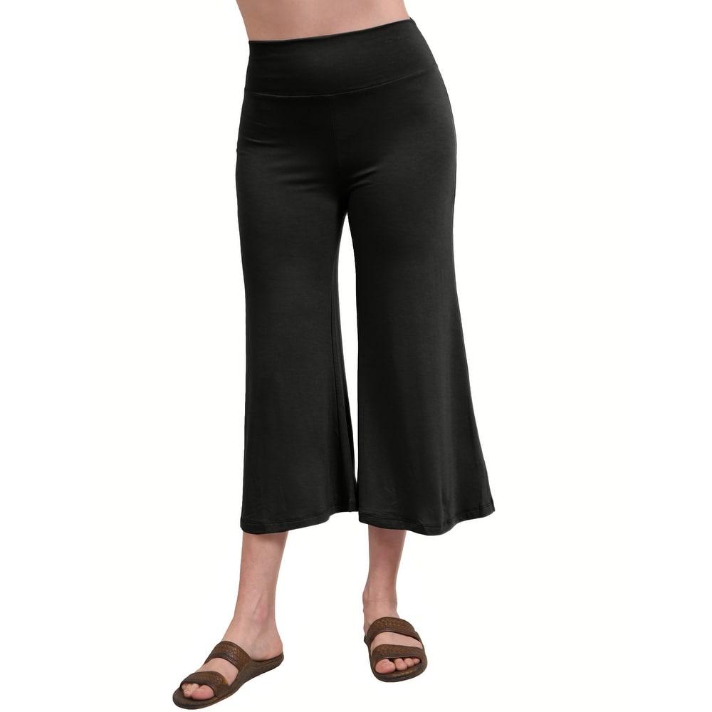 NE PEOPLE Womens Solid Color Comfy Elastic Waist Culottes Pants