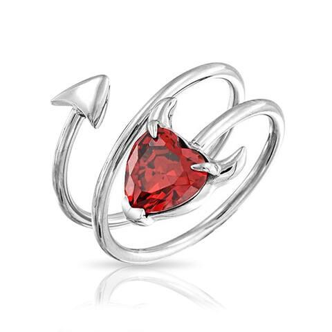 Devil Red Heart Spiral Ring For Women Body Imitation Garnet Cubic Zirconia CZ 316L Steel 14