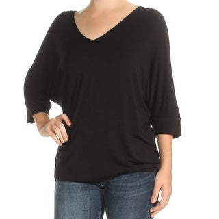 Womens Black 3/4 Sleeve V Neck Casual Top Size XS