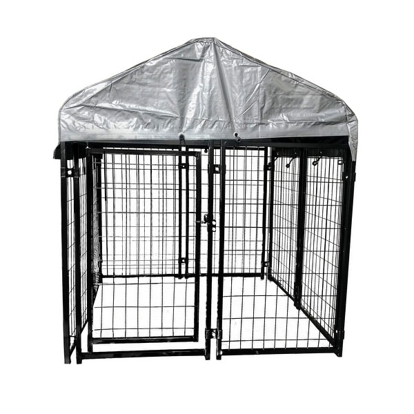 ALEKO Dog Kennel 4 x 4 x 4.5 ft Chain Link Pet Playpen Fence with Roof and Fabric. Opens flyout.