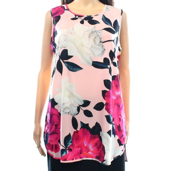 CeCe By Cynthia Steffe NEW Pink Women's Size Large L Floral Tank Blouse